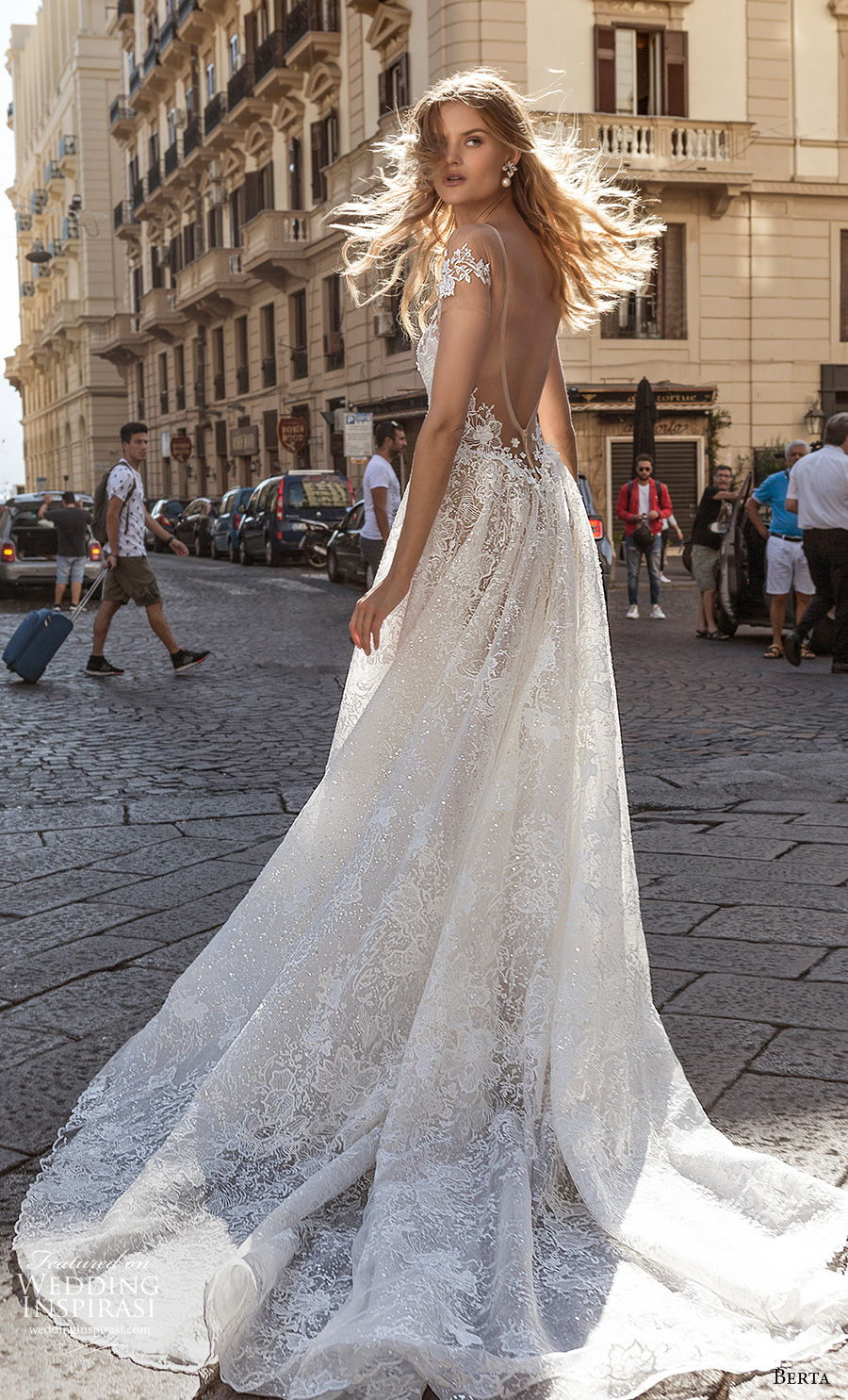 berta fall 2020 bridal cap sleeves plunging sweetheart necklin full embellishment romantic a  line wedding dress backless low back chapel train (9) bv