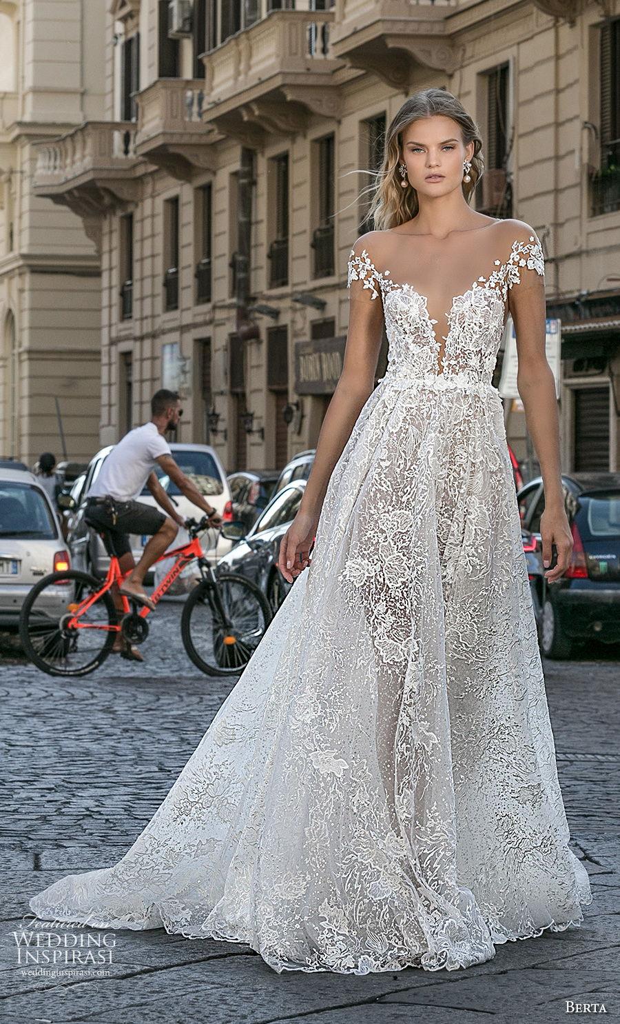 berta fall 2020 bridal cap sleeves plunging sweetheart necklin full embellishment romantic a  line wedding dress backless low back chapel train (9) mv