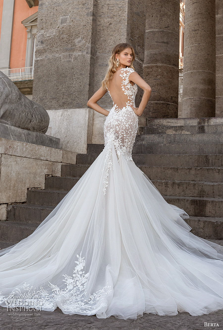 berta fall 2020 bridal cap sleeves sweetheart neckline heavily embellished bodice bustier elegant mermaid wedding dress backless low back royal train (16) bv