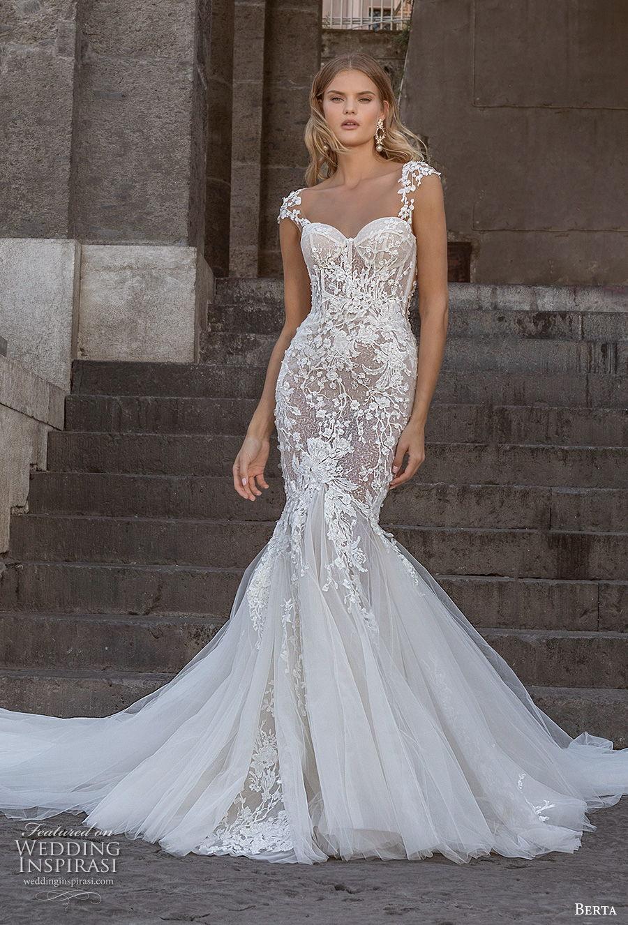 berta fall 2020 bridal cap sleeves sweetheart neckline heavily embellished bodice bustier elegant mermaid wedding dress backless low back royal train (16) mv