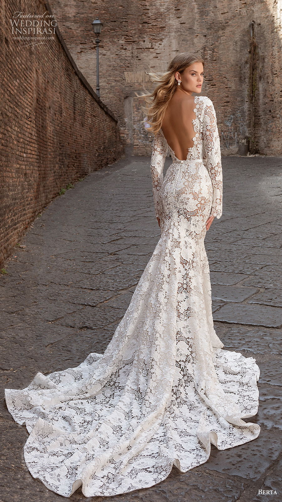 berta fall 2020 bridal long sleeves bateau neckline full embellishment elegant fit and flare wedding dress backless low back chapel train (4) bv