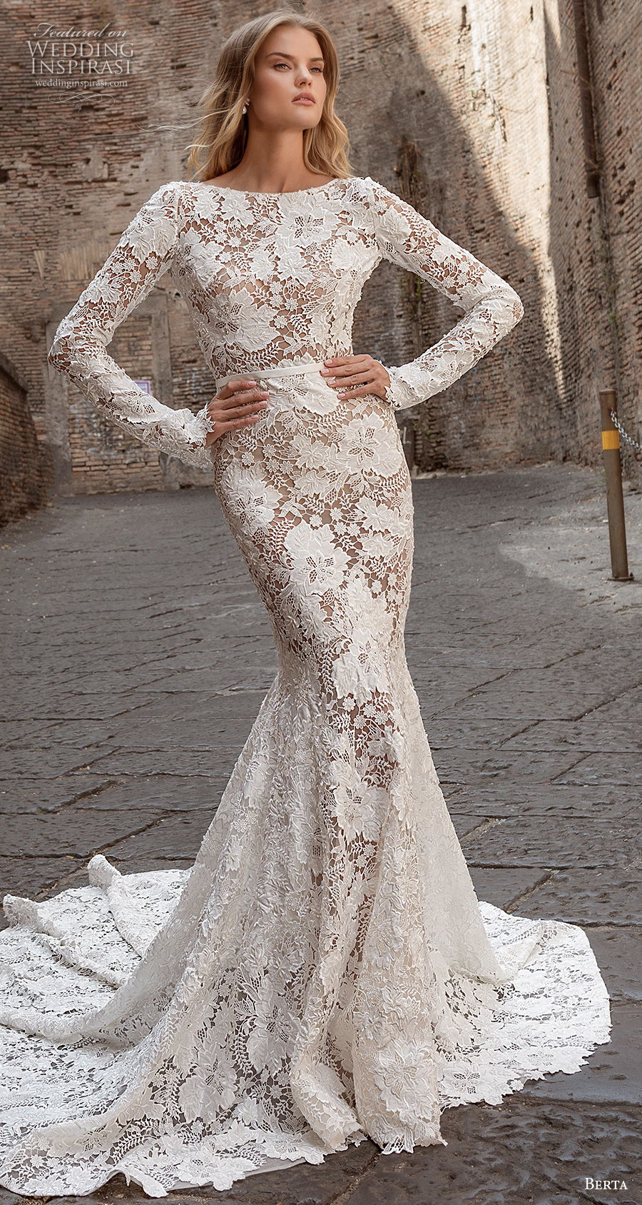 berta fall 2020 bridal long sleeves bateau neckline full embellishment elegant fit and flare wedding dress backless low back chapel train (4) mv