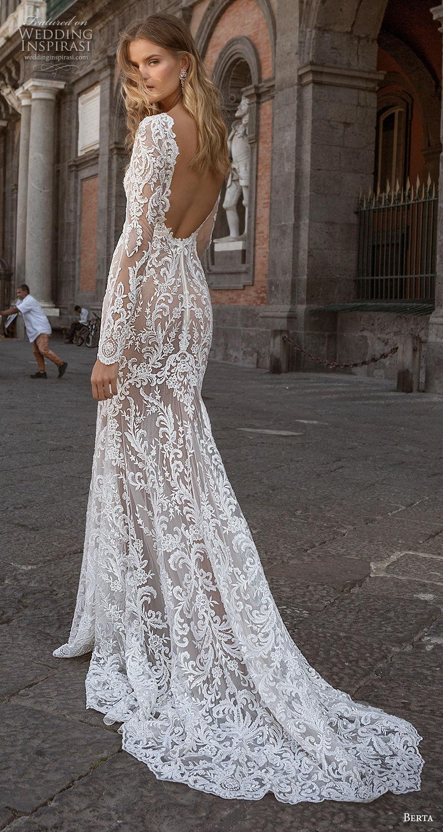 berta fall 2020 bridal long sleeves deep v neck full embellishment sexy elegant fit and flare wedding dress backless low back medium train (7) bv