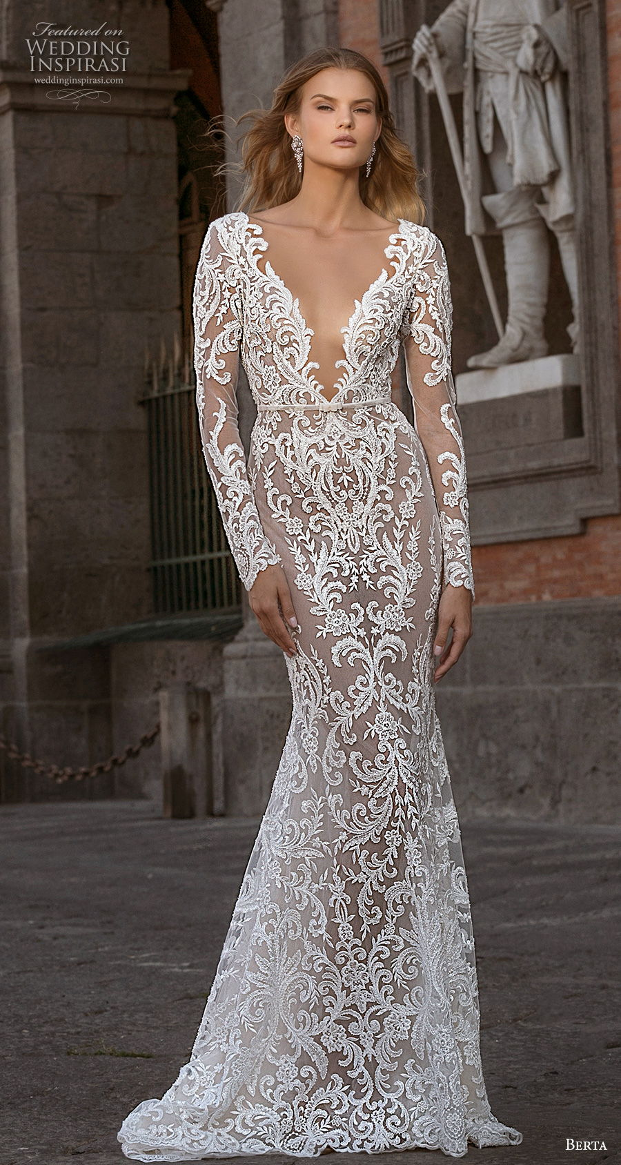 berta fall 2020 bridal long sleeves deep v neck full embellishment sexy elegant fit and flare wedding dress backless low back medium train (7) mv