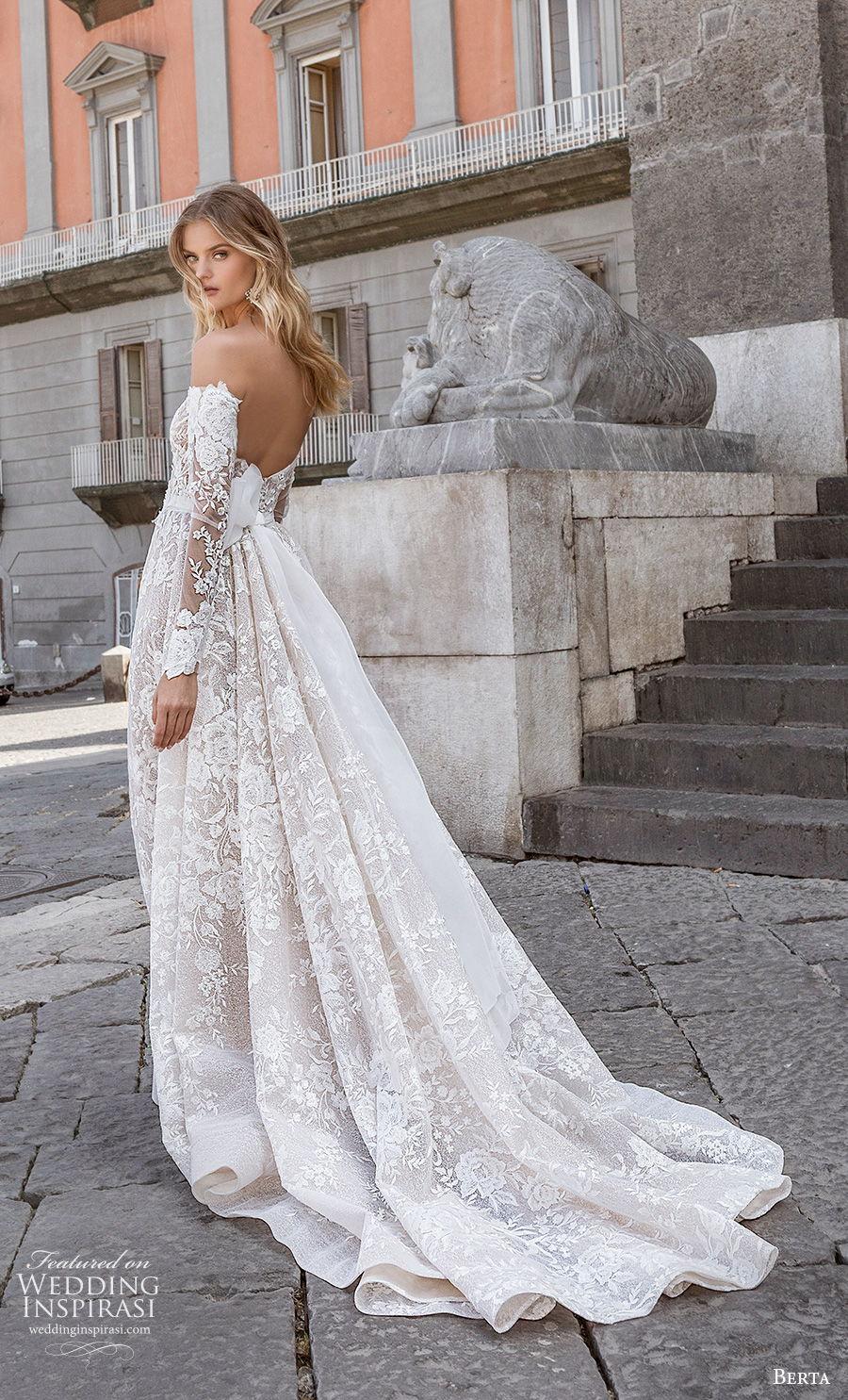 berta fall 2020 bridal long sleeves off the shoulder straight across neckline full embellishment a  line wedding dress backless chapel train (11) bv