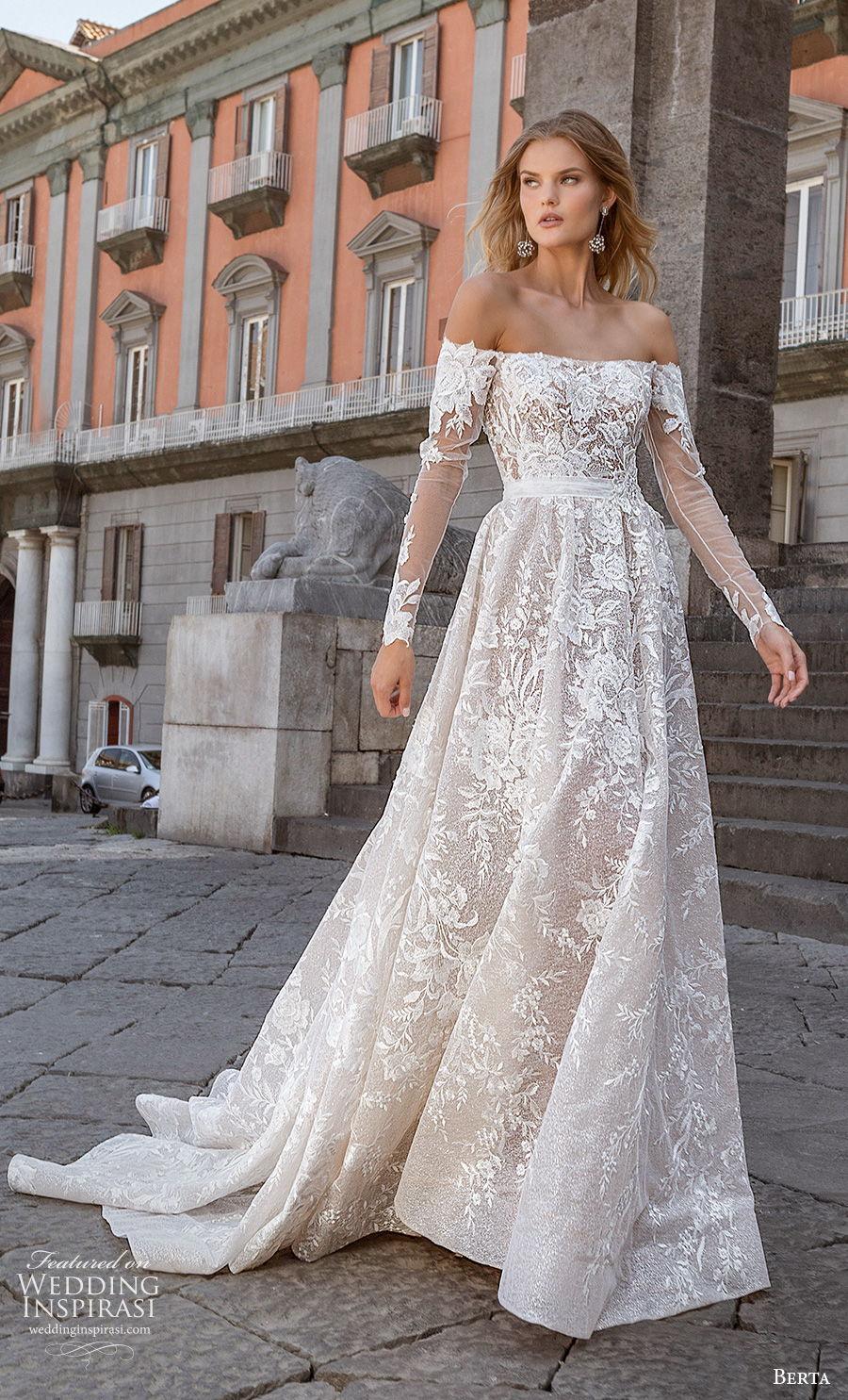 berta fall 2020 bridal long sleeves off the shoulder straight across neckline full embellishment a  line wedding dress backless chapel train (11) mv