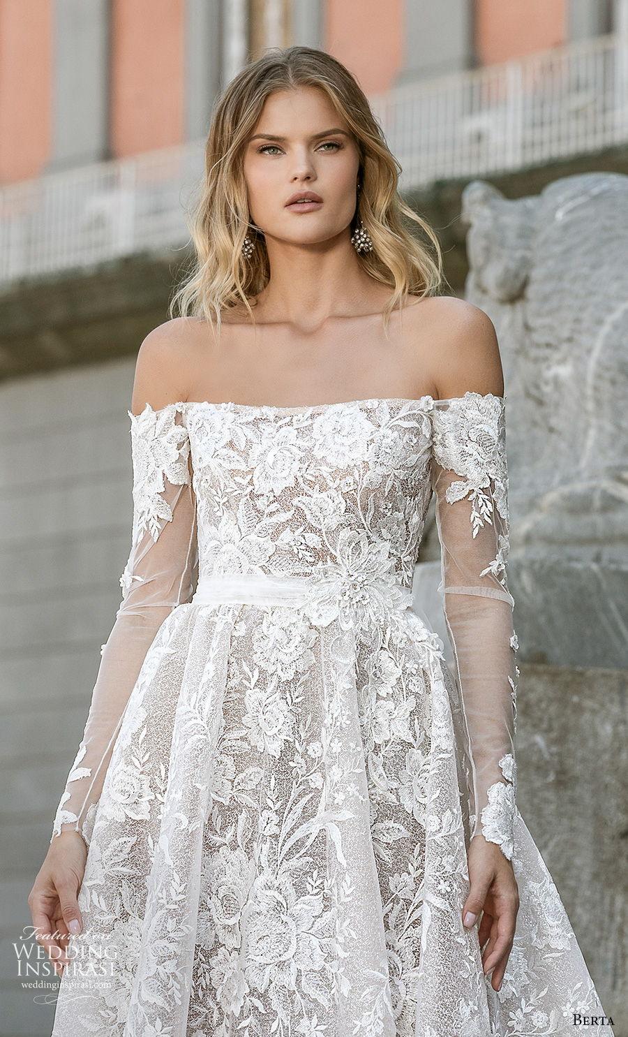 berta fall 2020 bridal long sleeves off the shoulder straight across neckline full embellishment a  line wedding dress backless chapel train (11) zv