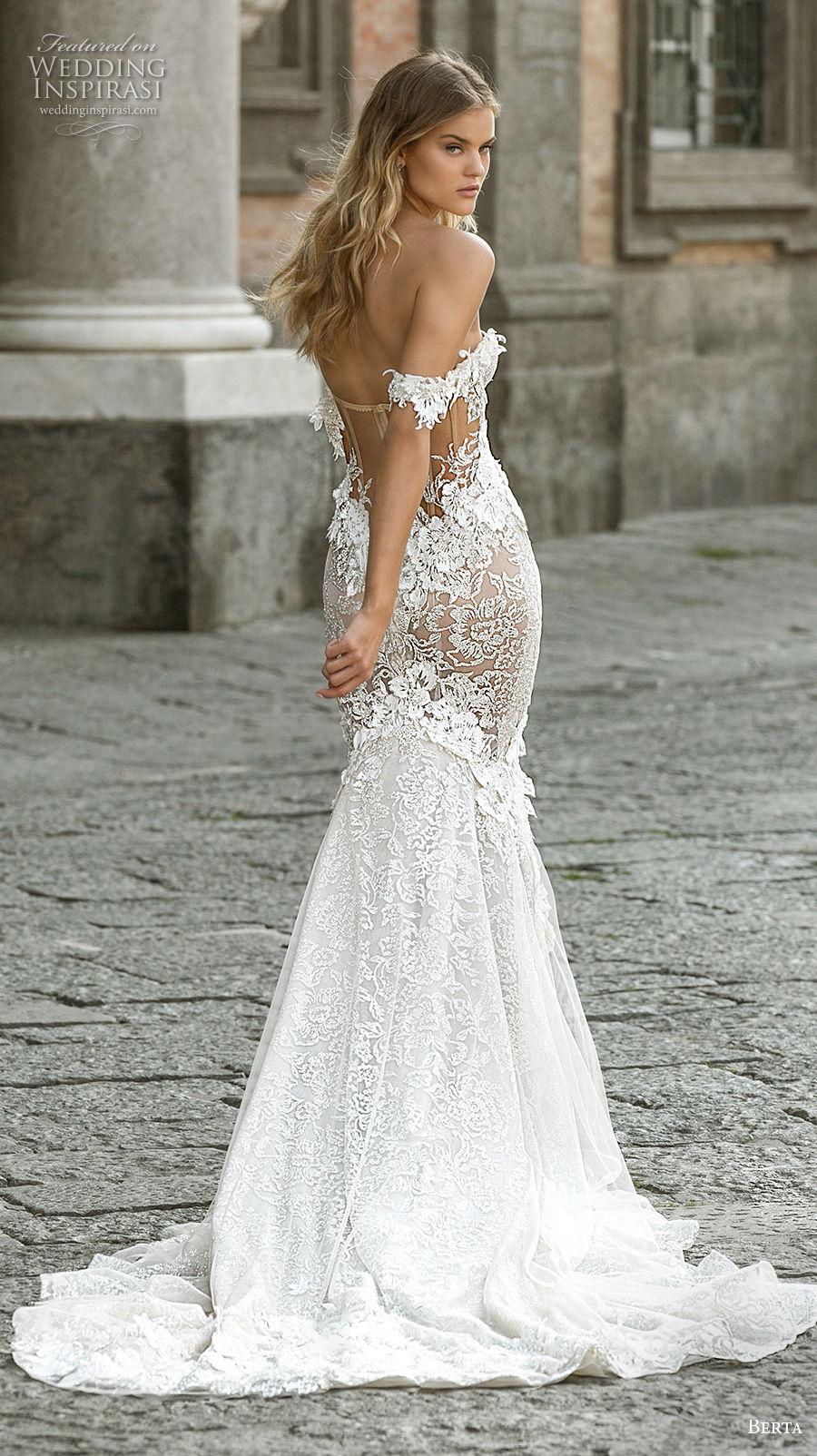 berta fall 2020 bridal off the shoulder sweetheart neckline full embeliishment bustier romantic mermaid wedding dress mid back medium train (1) bv