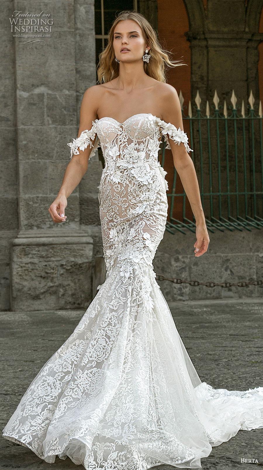 berta fall 2020 bridal off the shoulder sweetheart neckline full embeliishment bustier romantic mermaid wedding dress mid back medium train (1) mv