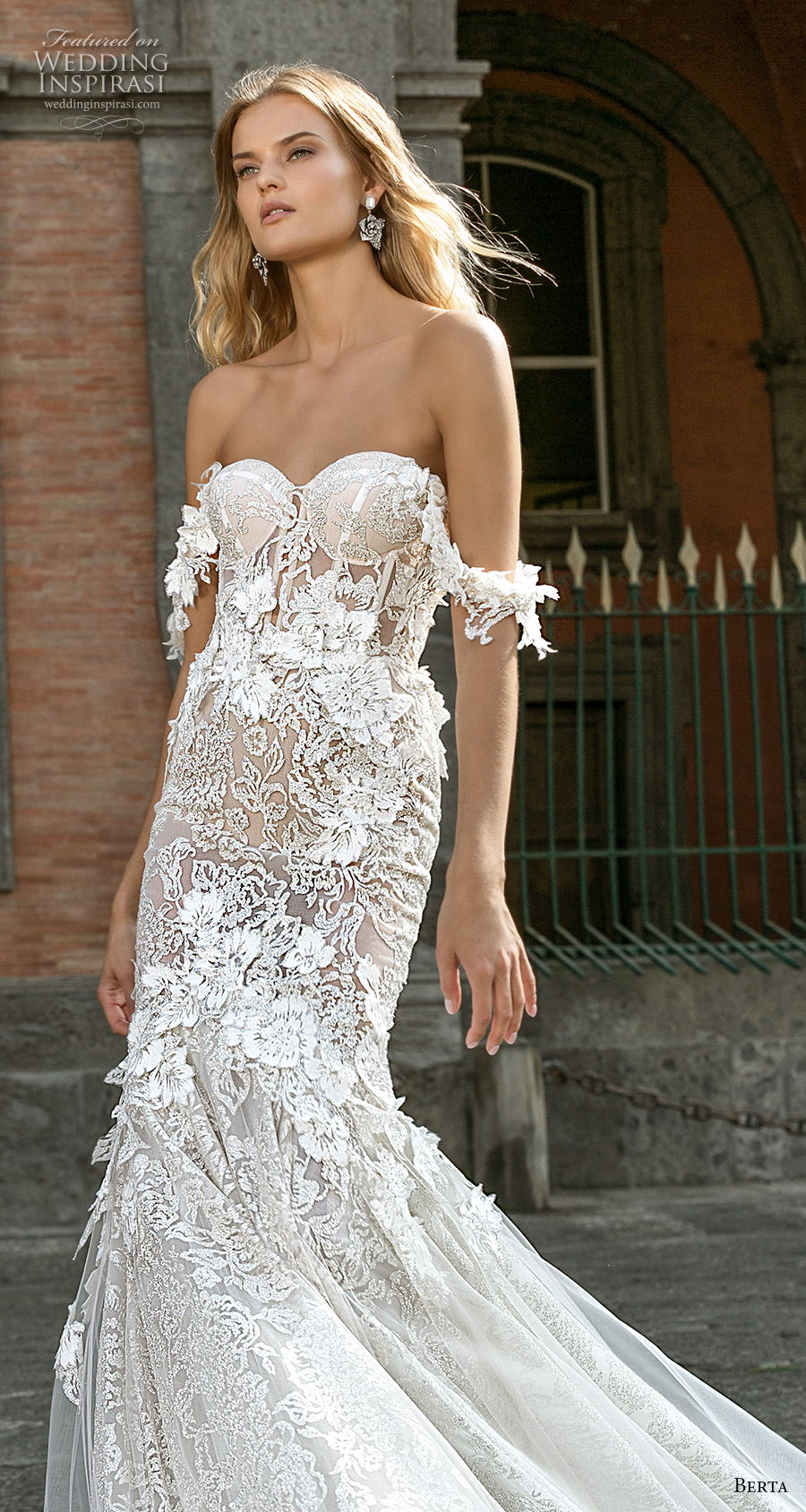berta fall 2020 bridal off the shoulder sweetheart neckline full embeliishment bustier romantic mermaid wedding dress mid back medium train (1) zv