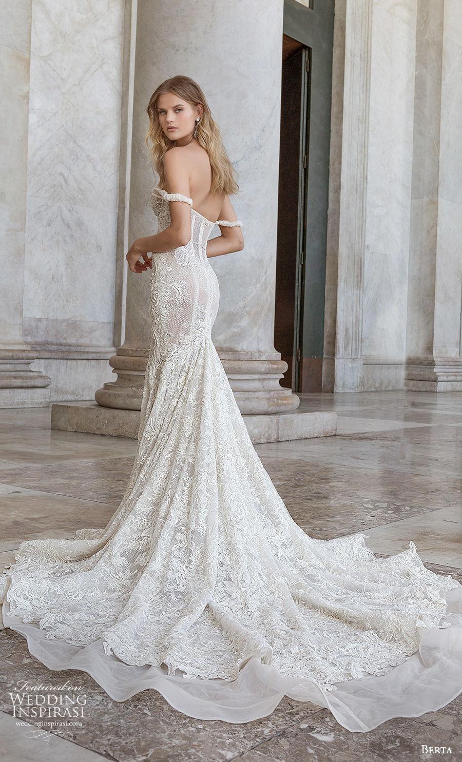berta fall 2020 bridal off the shoulder sweetheart neckline full embellishment bustier sexy romantic mermaid wedding dress mid back chapel train (12) bv
