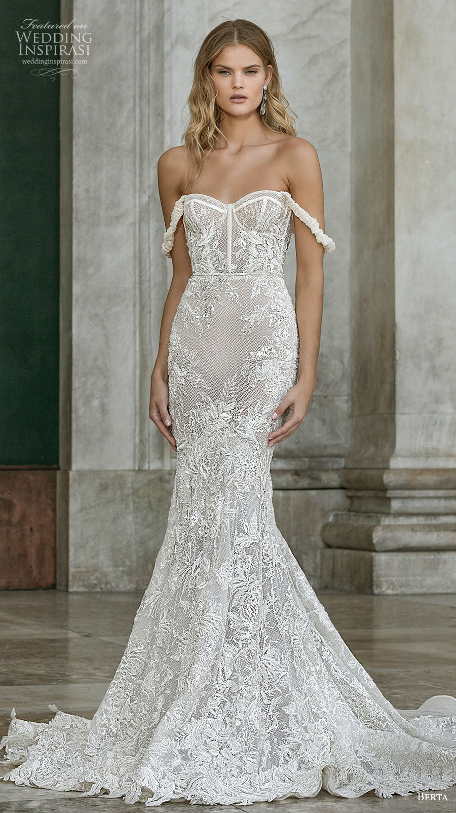 berta fall 2020 bridal off the shoulder sweetheart neckline full embellishment bustier sexy romantic mermaid wedding dress mid back chapel train (12) mv