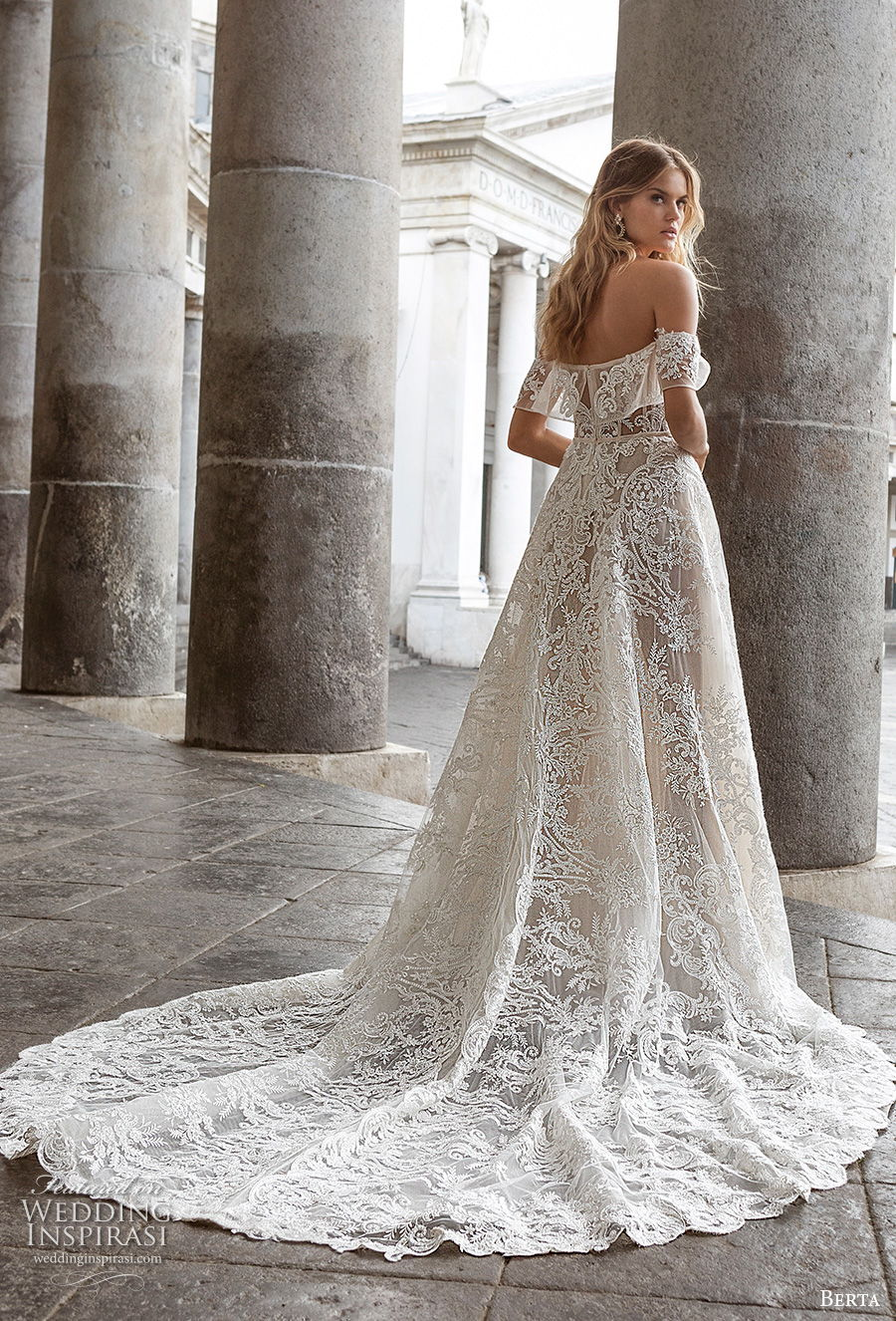 berta fall 2020 bridal off the shoulder sweetheart neckline full embellishment romantic a  line wedding dress mid back chapel train (6) bv