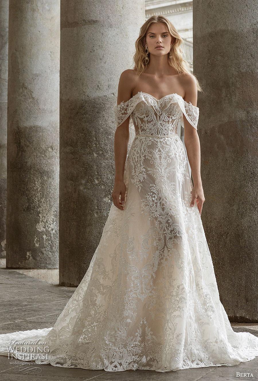 berta fall 2020 bridal off the shoulder sweetheart neckline full embellishment romantic a  line wedding dress mid back chapel train (6) mv