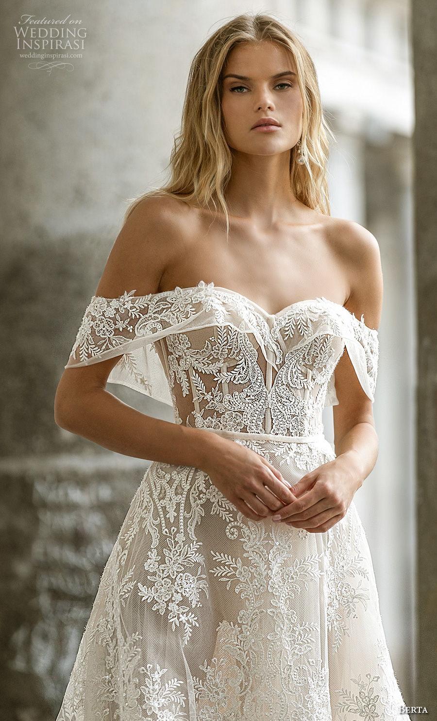 berta fall 2020 bridal off the shoulder sweetheart neckline full embellishment romantic a  line wedding dress mid back chapel train (6) zv