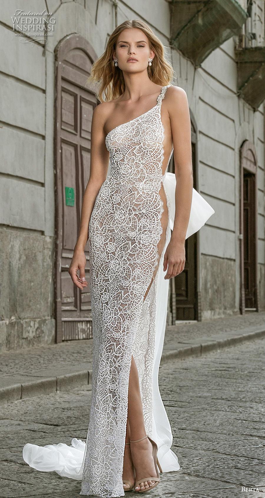berta fall 2020 bridal one shoulder full embellishment slit skirt glamorous elegant sheath wedding dress backless sweep train (13) mv