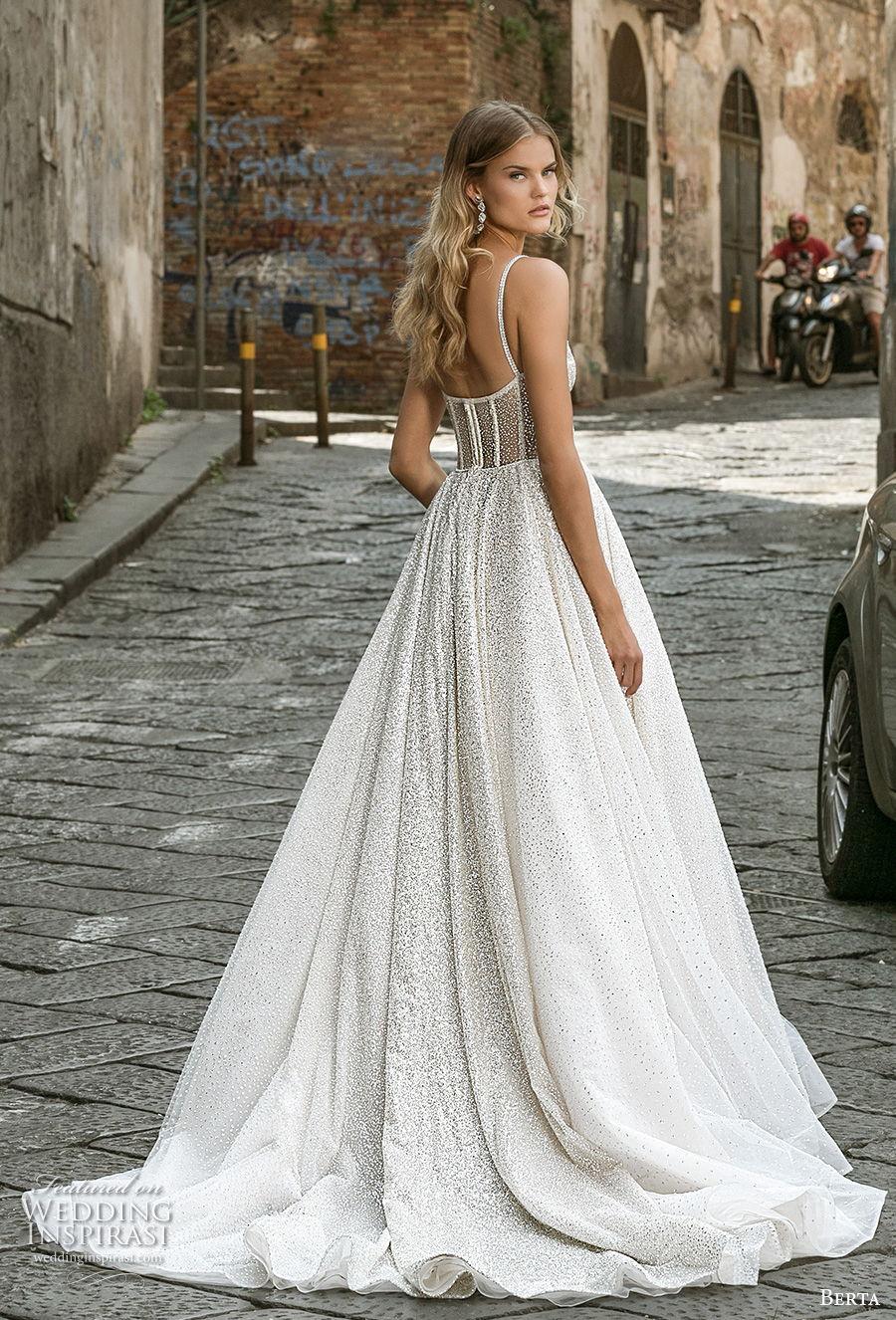 berta fall 2020 bridal sleeveless spaghetti strap sweetheart neckline bustier full embellishment romantic ball gown a  line wedding dress mid back medium train (5) bv