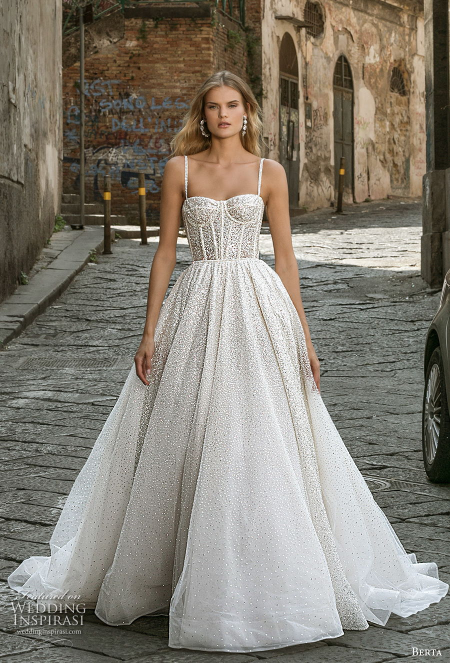 berta fall 2020 bridal sleeveless spaghetti strap sweetheart neckline bustier full embellishment romantic ball gown a line wedding dress mid back medium train (5) mv