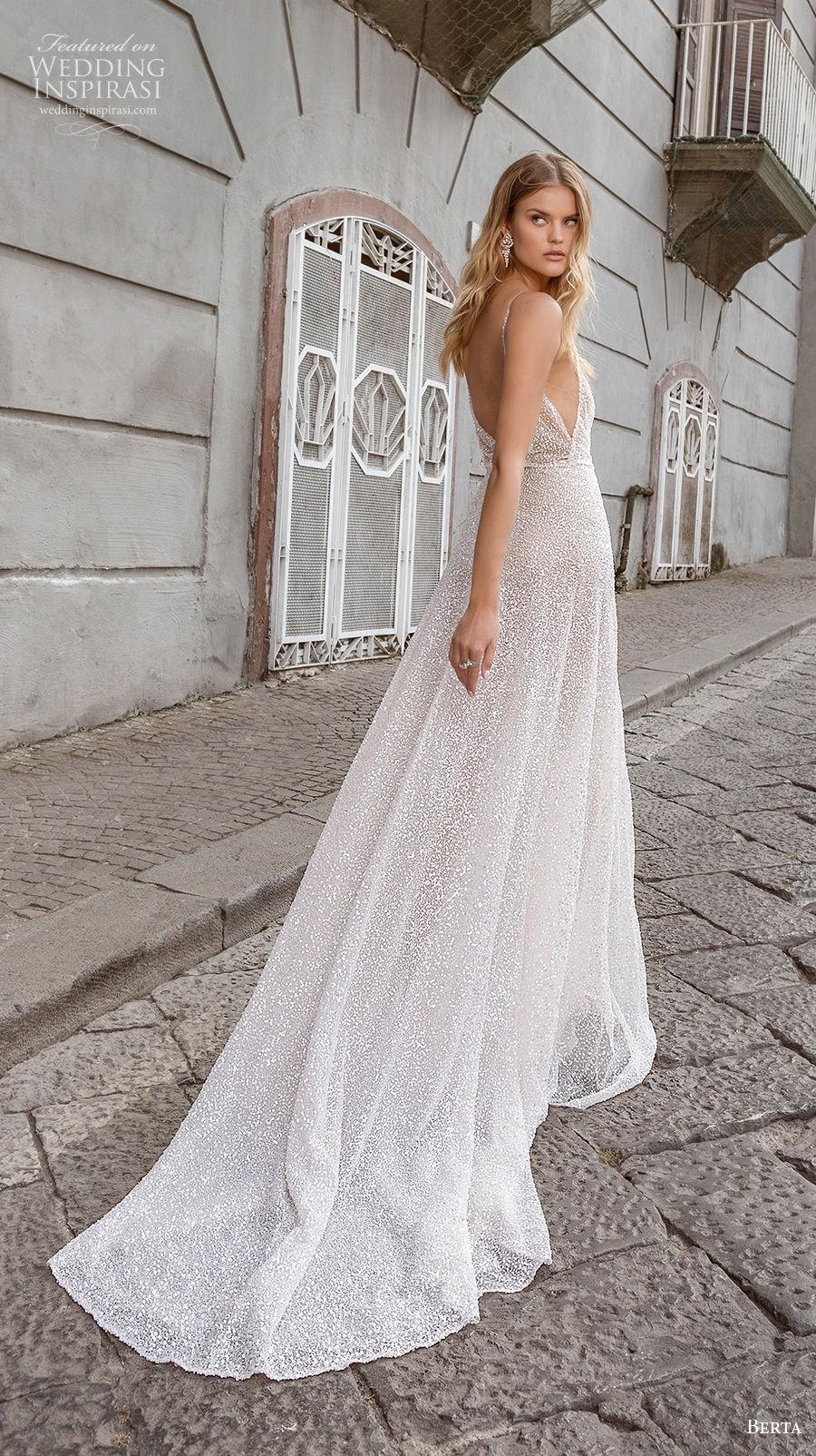 berta fall 2020 bridal sleeveless thin strap deep v neck light embellishment sexy glamorous a  line wedding dress backless chapel train (14) bv