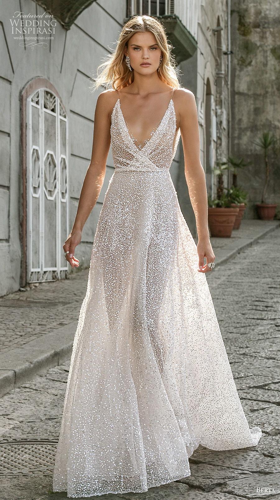 berta fall 2020 bridal sleeveless thin strap deep v neck light embellishment sexy glamorous a  line wedding dress backless chapel train (14) mv