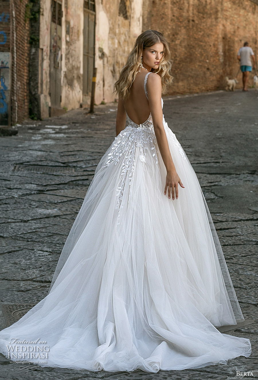 berta fall 2020 bridal sleeveless with strap v neck full embellishment sexy elegant fit and flare wedding dress a  line overskirt backless scoop back chapel train (2) bv