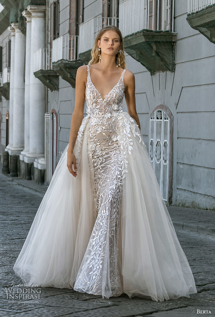 berta fall 2020 bridal sleeveless with strap v neck full embellishment sexy elegant fit and flare wedding dress a  line overskirt backless scoop back chapel train (2) mv