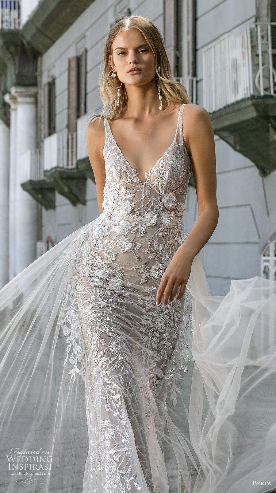 berta fall 2020 bridal sleeveless with strap v neck full embellishment sexy elegant fit and flare wedding dress a  line overskirt backless scoop back chapel train (2) zv