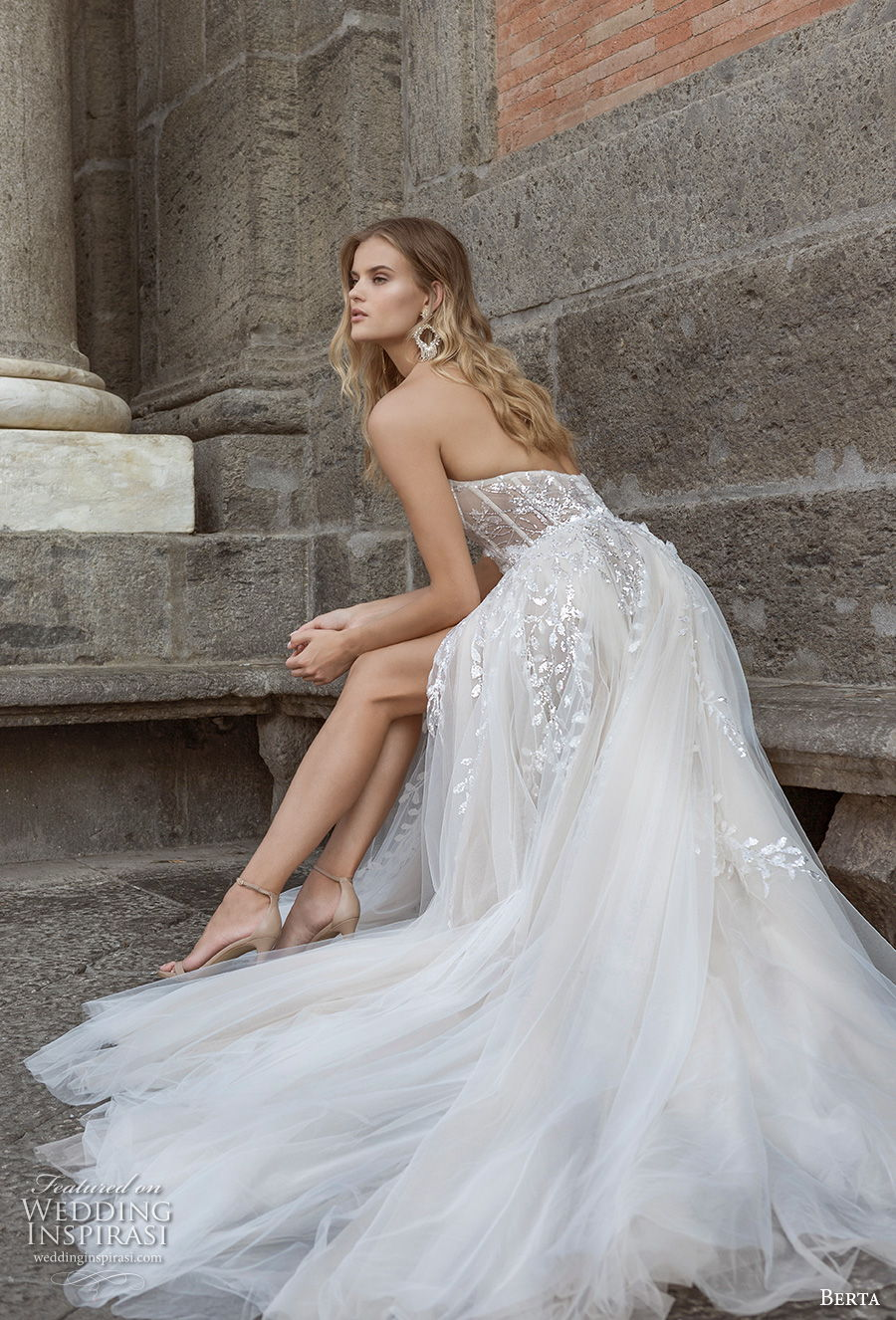 berta fall 2020 bridal strapless sweetheart neckline heavily embellished bodice high slit skirt sexy a  line wedding dress backless chapel train (15) bv