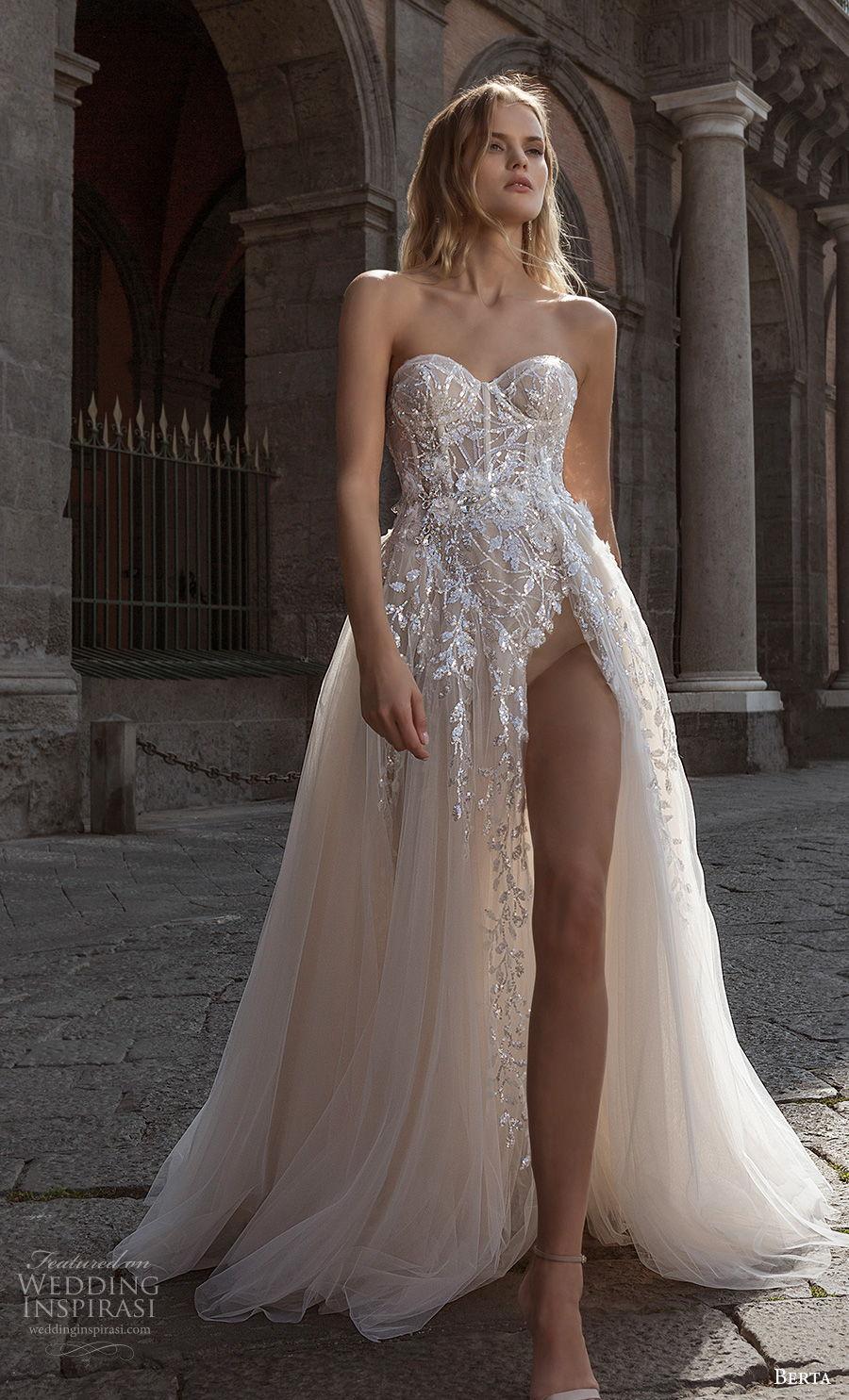 berta fall 2020 bridal strapless sweetheart neckline heavily embellished bodice high slit skirt sexy a  line wedding dress backless chapel train (15) mv
