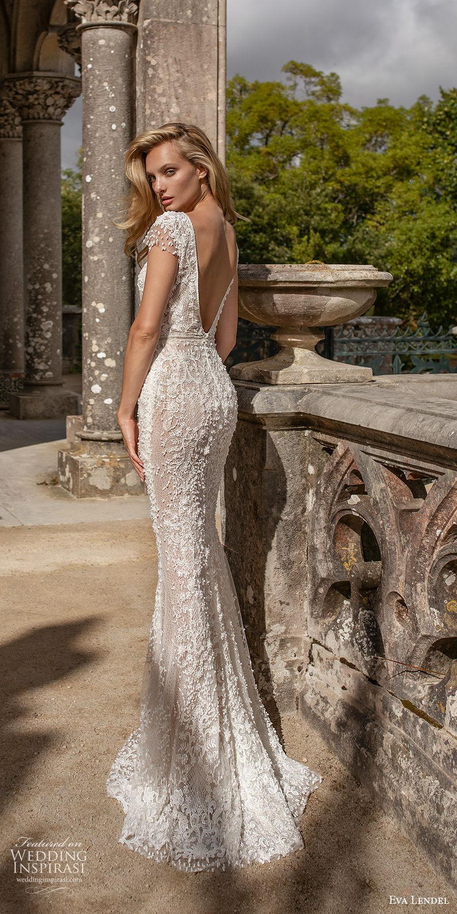 eva lendel 2020 lisbon vibes bridal cap sleeves deep v neck full embellishment romantic fit and flare wedding dress backless v back chapel train (3) bv