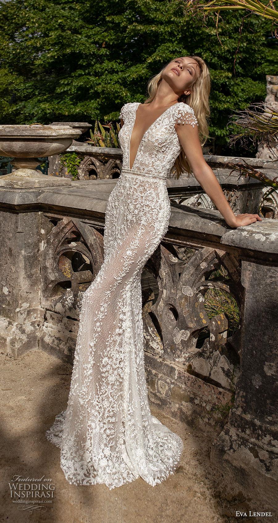 eva lendel 2020 lisbon vibes bridal cap sleeves deep v neck full embellishment romantic fit and flare wedding dress backless v back chapel train (3) mv