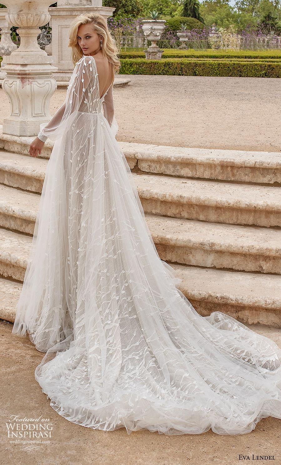 eva lendel 2020 lisbon vibes bridal long bishop sleeves deep v neck heavily embellished bodice romantic a  line wedding dress v back chapel train (13) bv