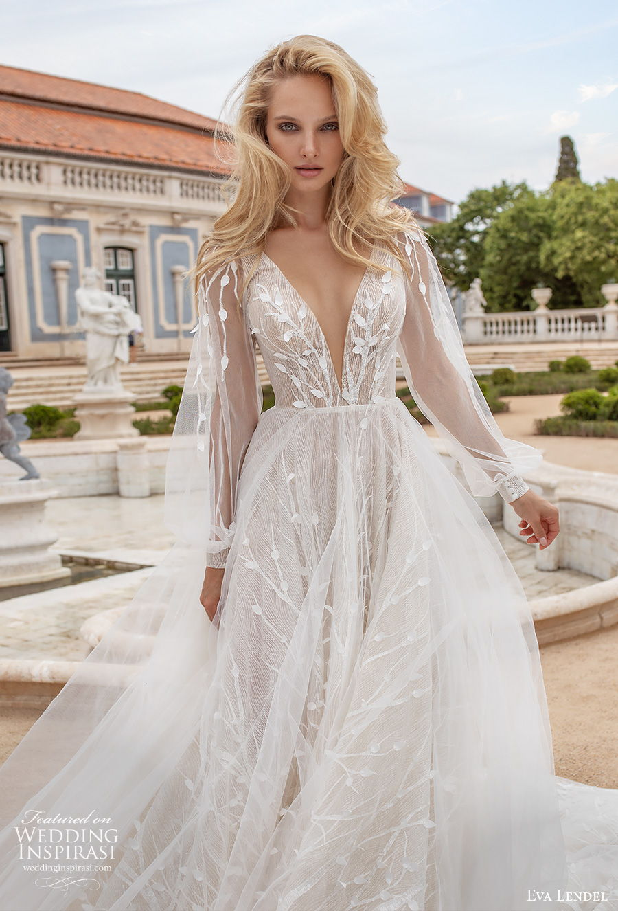 eva lendel 2020 lisbon vibes bridal long bishop sleeves deep v neck heavily embellished bodice romantic a  line wedding dress v back chapel train (13) mv