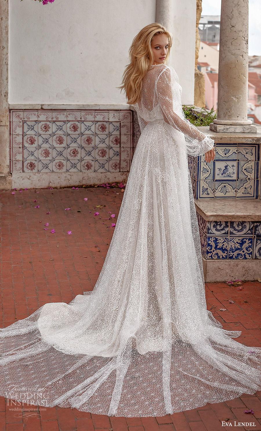 eva lendel 2020 lisbon vibes bridal long bishop sleeves sweetheart neckline full embellishment romantic soft a  line wedding dress sheer back chapel train (14) bv
