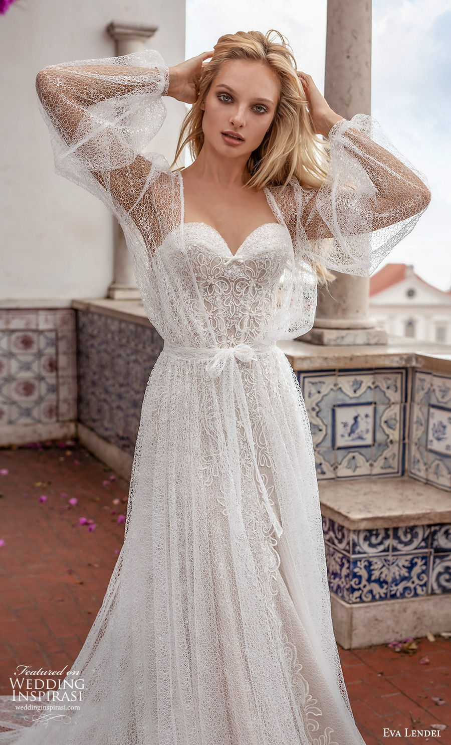 eva lendel 2020 lisbon vibes bridal long bishop sleeves sweetheart neckline full embellishment romantic soft a  line wedding dress sheer back chapel train (14) mv