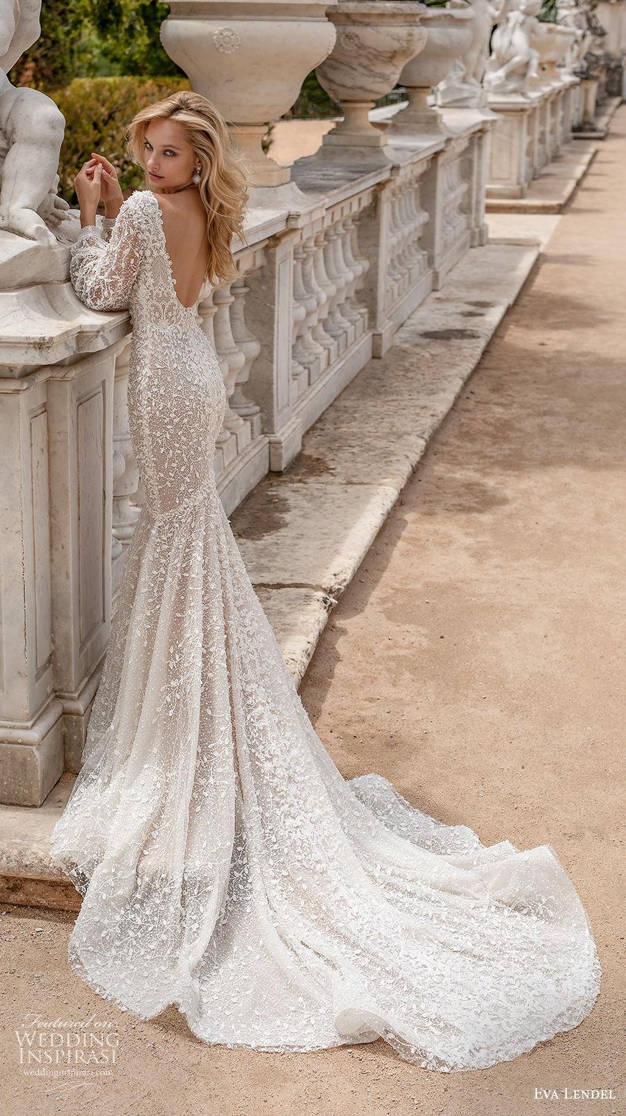 eva lendel 2020 lisbon vibes bridal long bishop sleeves v neck full embellishment sexy elegant mermaid wedding dress v back chapel train (15) bv