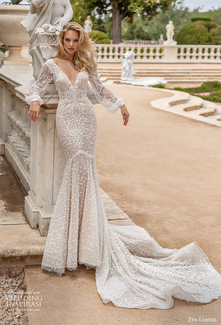 eva lendel 2020 lisbon vibes bridal long bishop sleeves v neck full embellishment sexy elegant mermaid wedding dress v back chapel train (15) mv