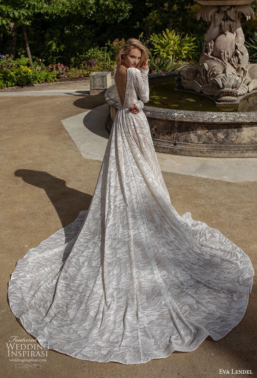 eva lendel 2020 lisbon vibes bridal long sleeves jewel neckline full embellishment elegant soft a  line wedding dress v back chapel train (5) bv