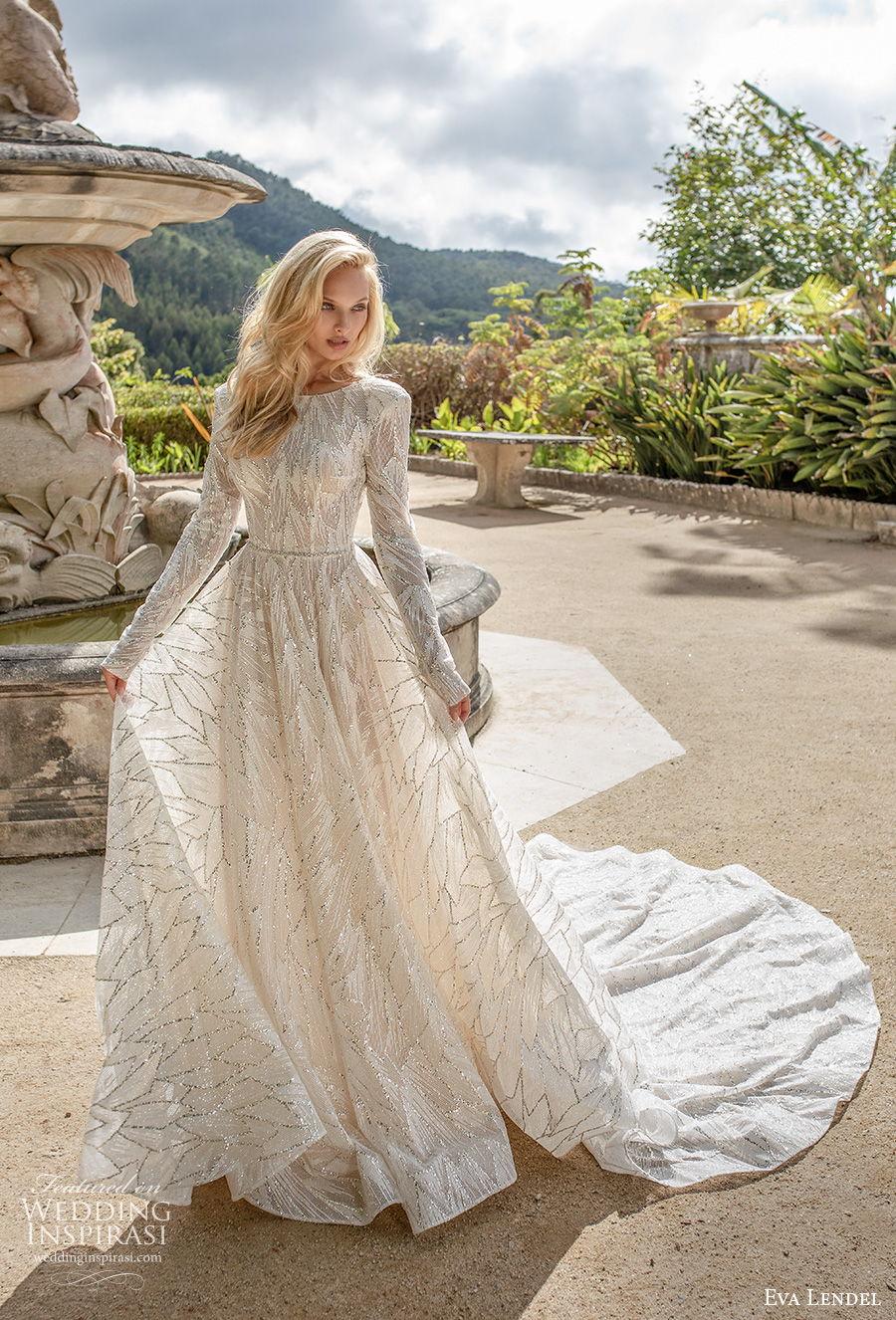 eva lendel 2020 lisbon vibes bridal long sleeves jewel neckline full embellishment elegant soft a  line wedding dress v back chapel train (5) mv