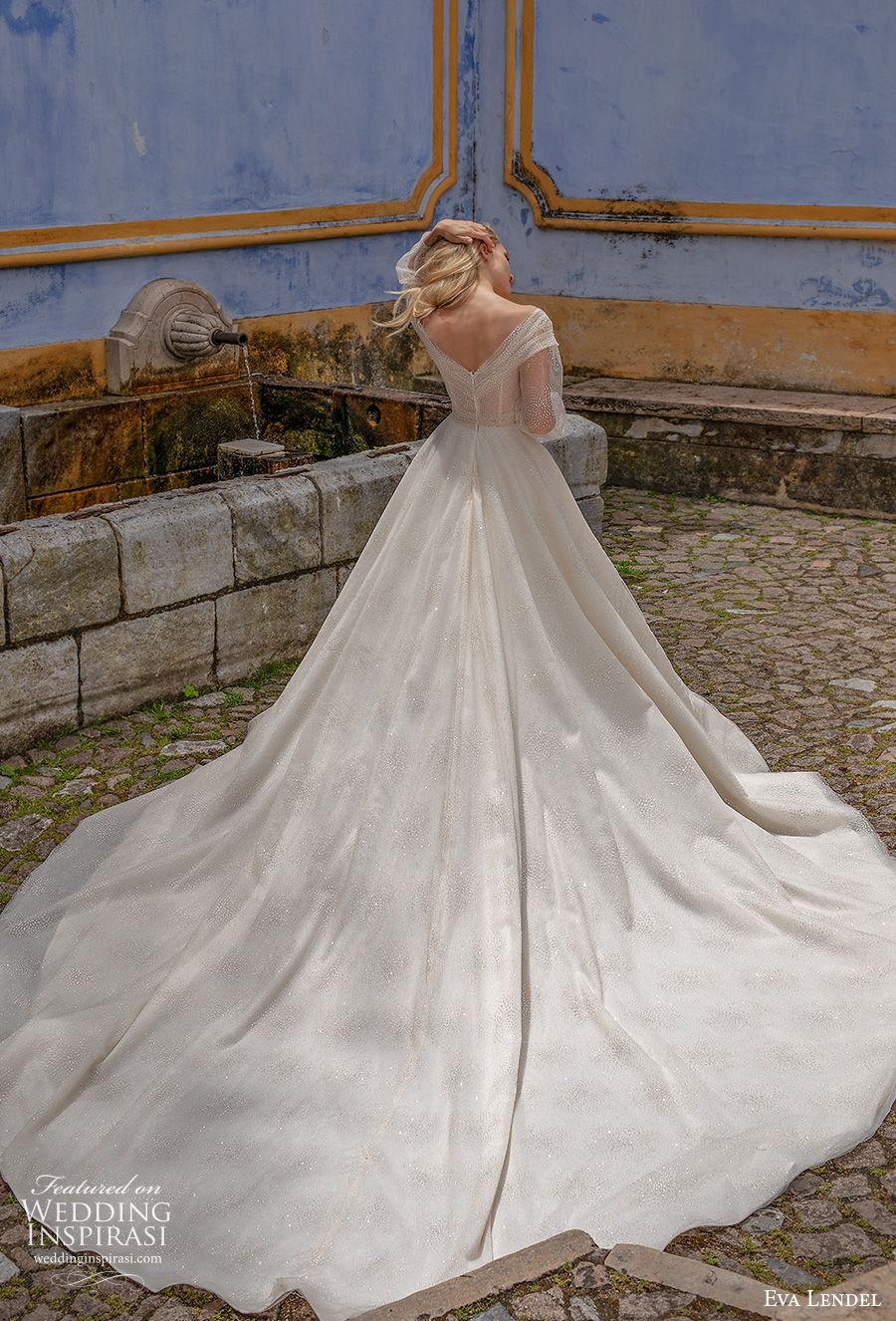eva lendel 2020 lisbon vibes bridal long sleeves off the shoulder deep v neck heavily embellished bodice glamorous romantic a  line wedding dress mid back royal train (12) bv