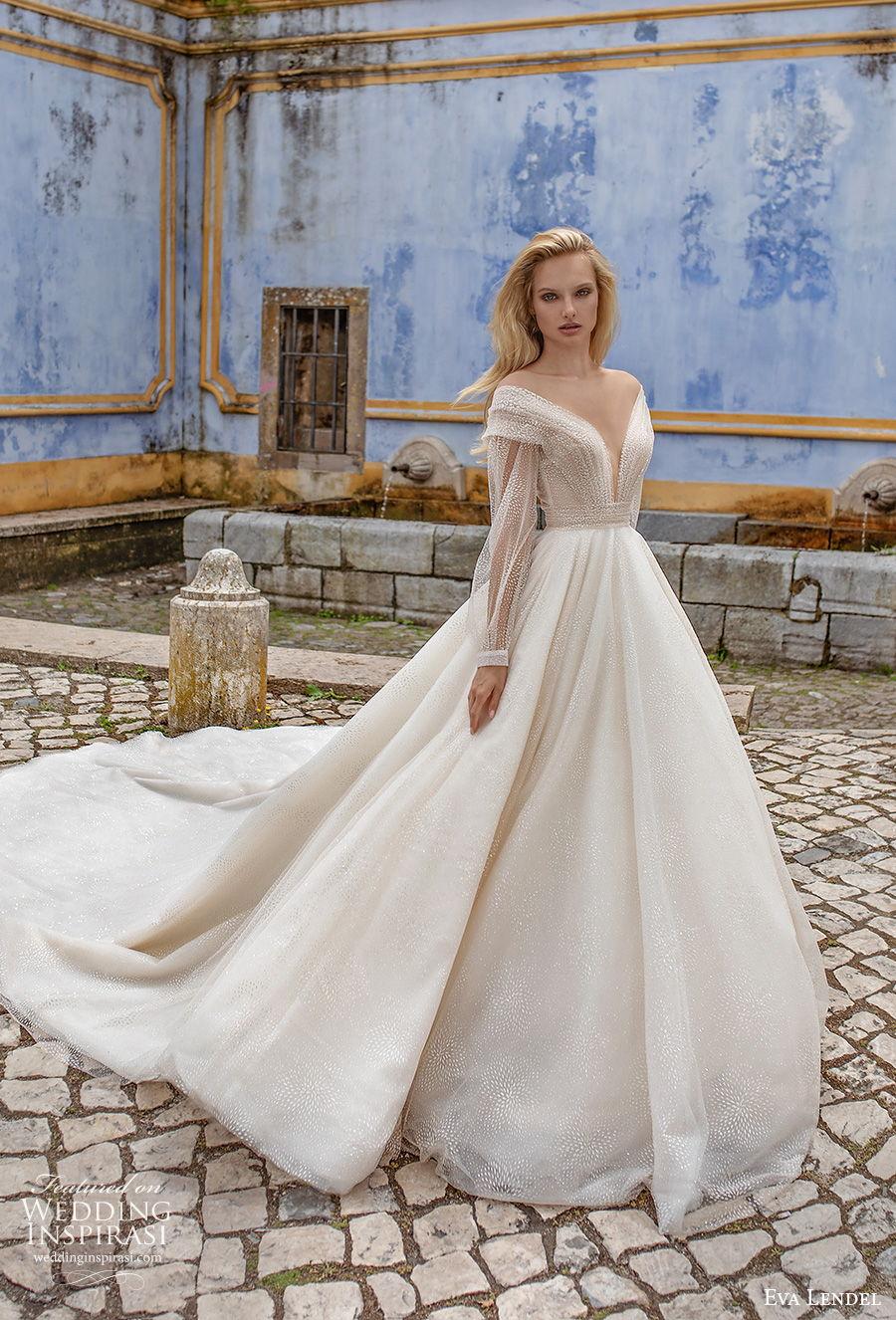 eva lendel 2020 lisbon vibes bridal long sleeves off the shoulder deep v neck heavily embellished bodice glamorous romantic a  line wedding dress mid back royal train (12) mv