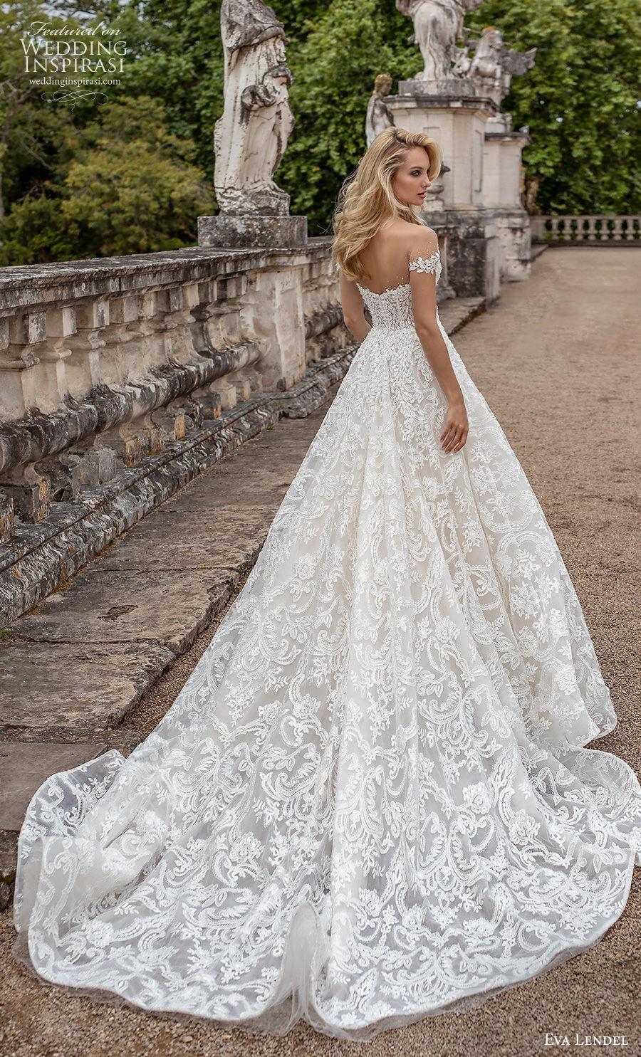 eva lendel 2020 lisbon vibes bridal off the shoulder deep plunging sweetheart neckline full embellishment romantic a  line wedding dress mid back chapel train (2) bv