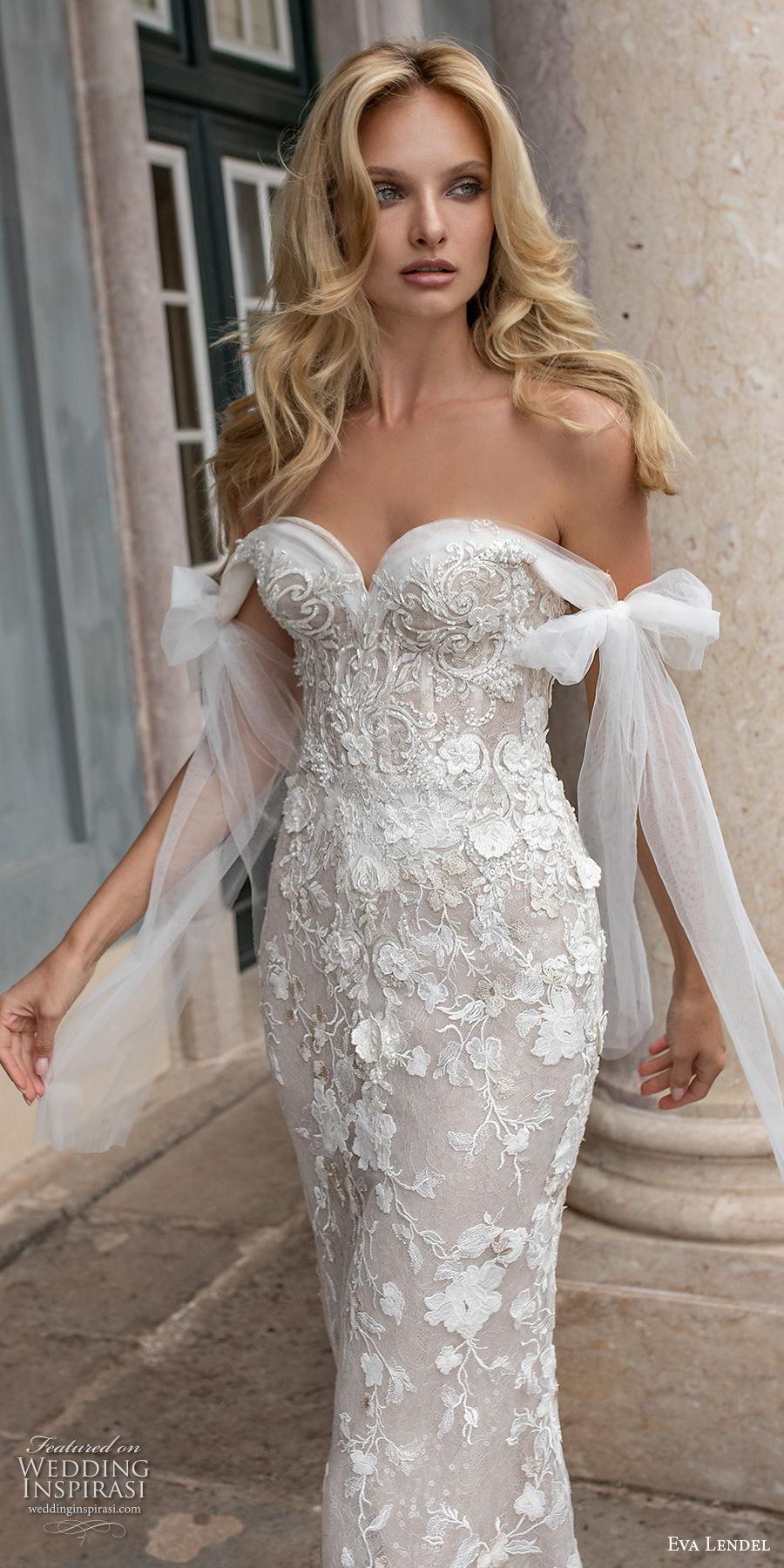 eva lendel 2020 lisbon vibes bridal off the shoulder sweetheart neckline full embellishment romantic sheath wedding dress mid back a  line overskirt chapel train (1) lv