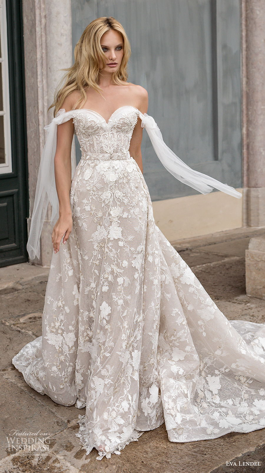 eva lendel 2020 lisbon vibes bridal off the shoulder sweetheart neckline full embellishment romantic sheath wedding dress mid back a  line overskirt chapel train (1) mv