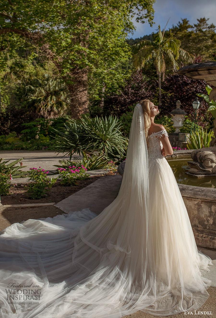 eva lendel 2020 lisbon vibes bridal off the shoulder sweetheart neckline heavily embellished bodice romantic a  line wedding dress covered back royal train (10) bv