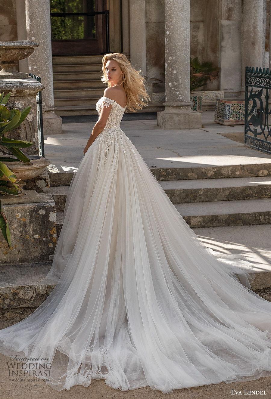 eva lendel 2020 lisbon vibes bridal off the shoulder sweetheart neckline heavily embellished bodice romantic princess a  line wedding dress mid back chapel train (7) bv