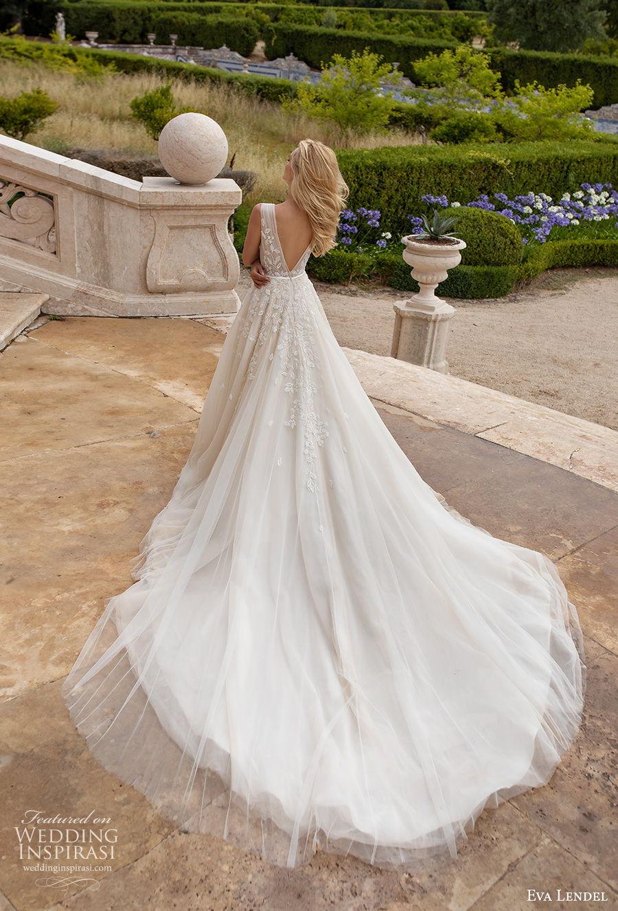 eva lendel 2020 lisbon vibes bridal sleeveless deep v neck heavily embellished bodice romantic a  line wedding dress v back chapel train (4) bv