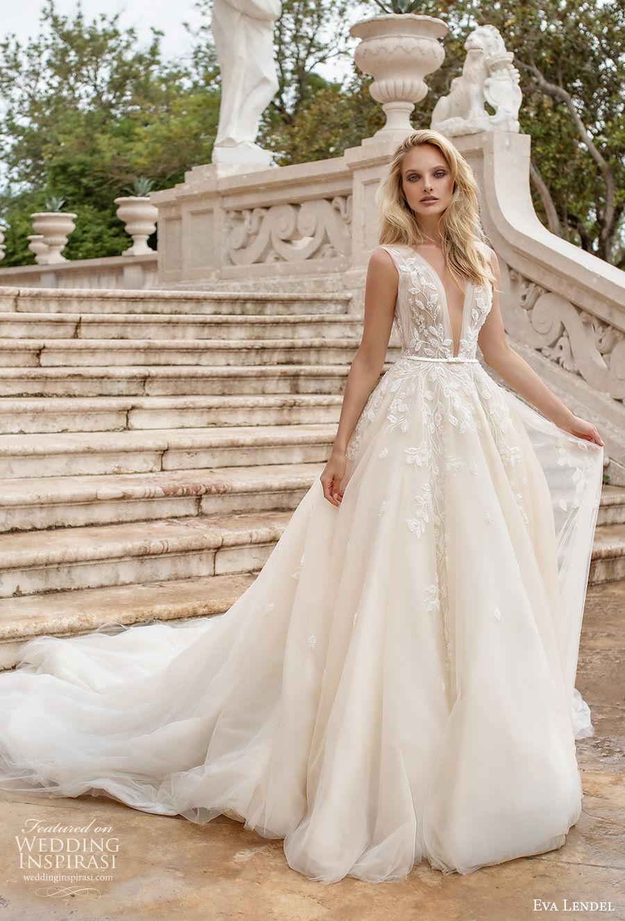 eva lendel 2020 lisbon vibes bridal sleeveless deep v neck heavily embellished bodice romantic a  line wedding dress v back chapel train (4) mv