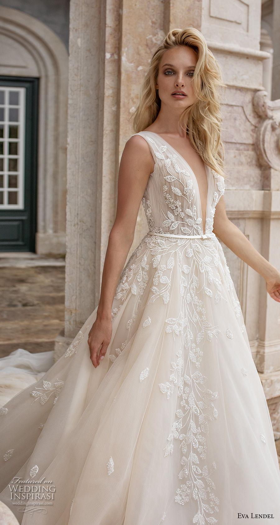 eva lendel 2020 lisbon vibes bridal sleeveless deep v neck heavily embellished bodice romantic a  line wedding dress v back chapel train (4) zv