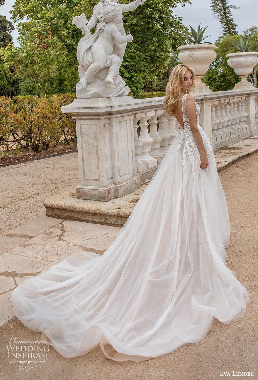 eva lendel 2020 lisbon vibes bridal sleeveless deep v neck heavily embellished bodice romantic soft a  line wedding dress backless v back chgapel train (6) bv